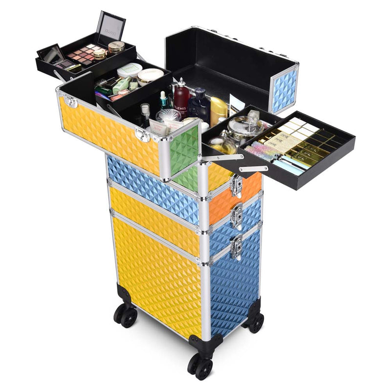 Masslux 2021 Mixed Color 4In1 Rolling Makeup Case Cosmetic Trolley