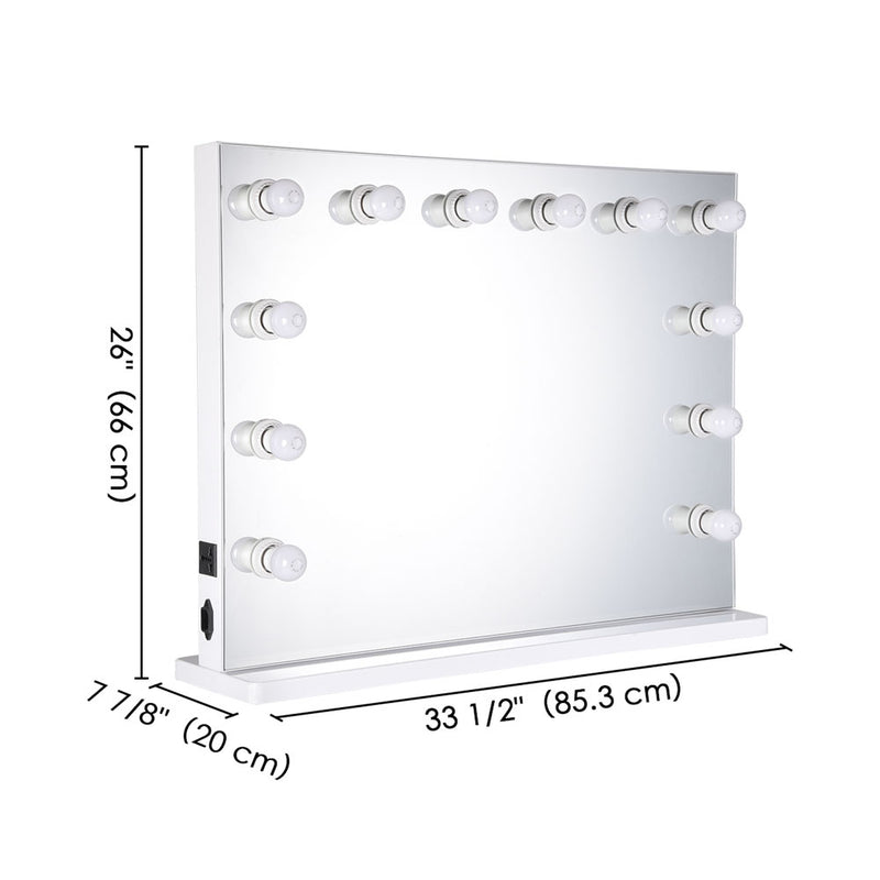 "Urstudio 34x26"" Hollywood Vanity Light Mirror Tabletop Wall Mount - byootique-global.com"