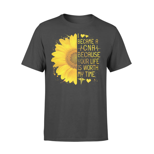 I Became A Cna Because Your Life Is Worth My Time Heartbeat Sunflower T-shirt L By AllezyShirt