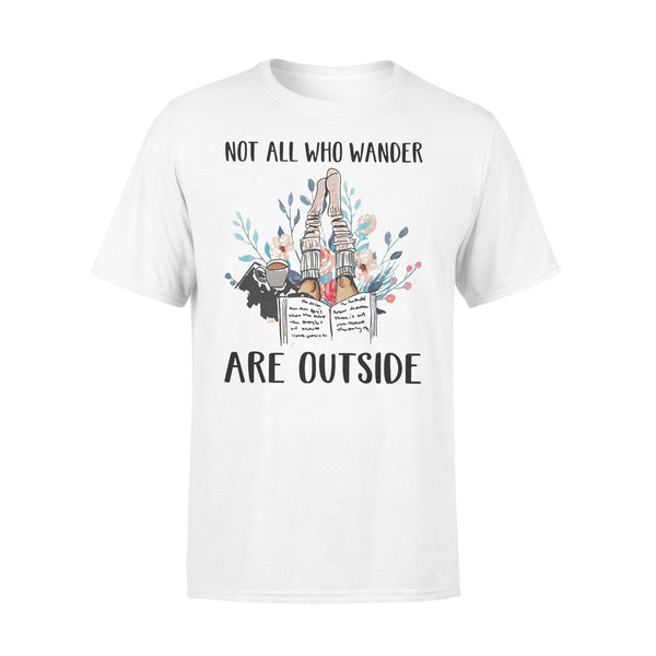 Reading Books Not All Who Wander Are Outside Flowers T-shirt L By AllezyShirt