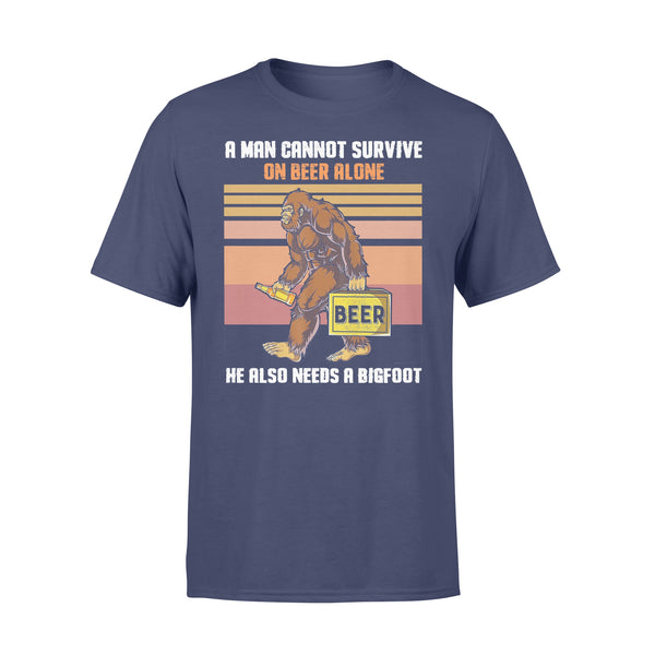 A Man Cannot Survive On Beer Alone He Also Needs A Bigfoot Vintage T-shirt XL By AllezyShirt
