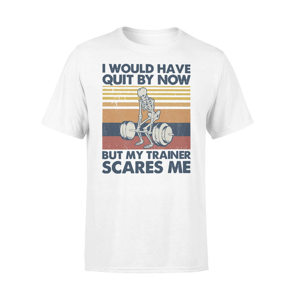 I Would Have Quit By Now But My Trainer Scares Me Fitness Skeleton Vintage T-shirt L By AllezyShirt