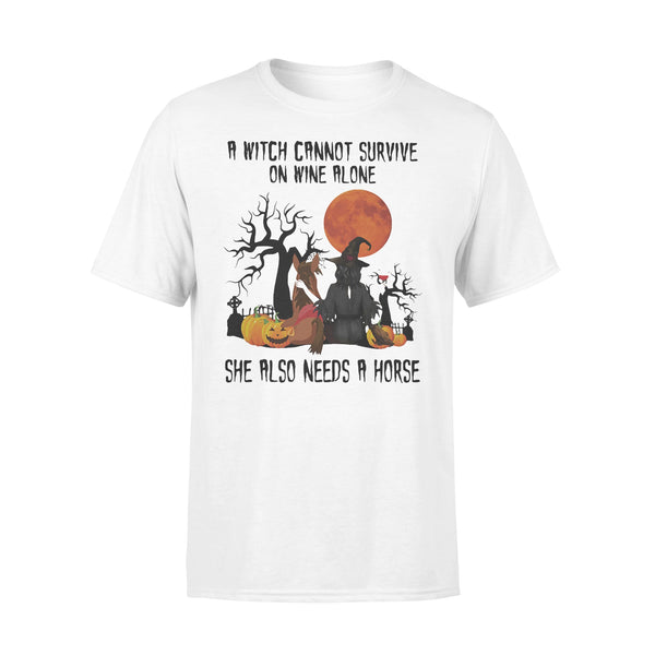 A Witch Cannot Survive On Wine Alone Sje Also Needs A Horse Blood Moon T-shirt L By AllezyShirt