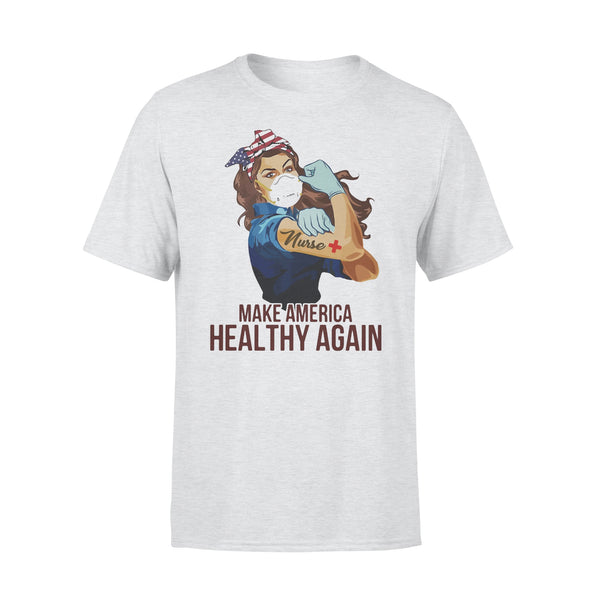 Strong Woman Tattoos Nurse Make America Healthy Again Covid-19 T-shirt XL By AllezyShirt