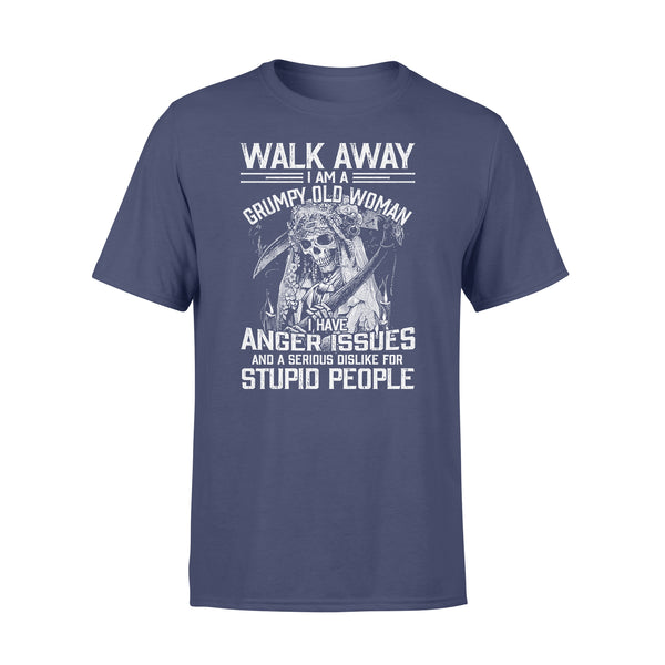 Skull Walk Away I Am A Grumpy Old Woman I Have Anger Issues T-shirt XL By AllezyShirt