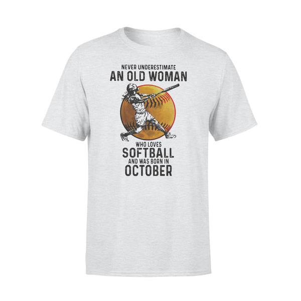 Never Underestimate An Old Woman Who Loves Softball And Was Born In October Blood Moon T-shirt XL By AllezyShirt