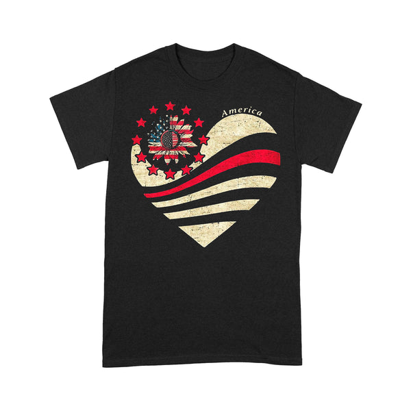 Heart Sunflower American Flag T-shirt S By AllezyShirt