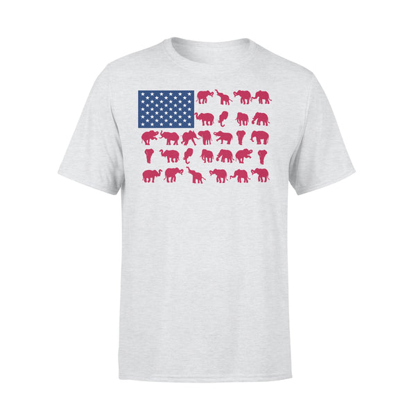 Elephant Poses American Flag 4Th Of July T-shirt XL By AllezyShirt