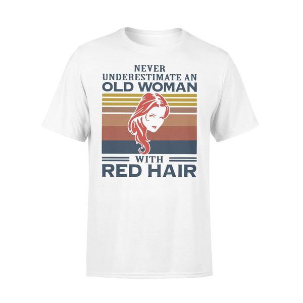 Never Underestimate An Old Woman With Red Hair Vintage T-shirt L By AllezyShirt