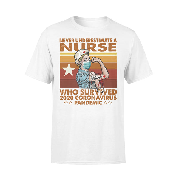 Proud Nurse Never Underestimate A Nurse Who Survived 2020 Coronavirus Pandemic Vintage T-shirt L By AllezyShirt