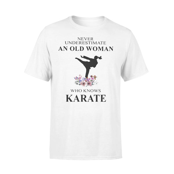 Never Underestimate An Old Woman Who Knows Karate Flowers T-shirt L By AllezyShirt