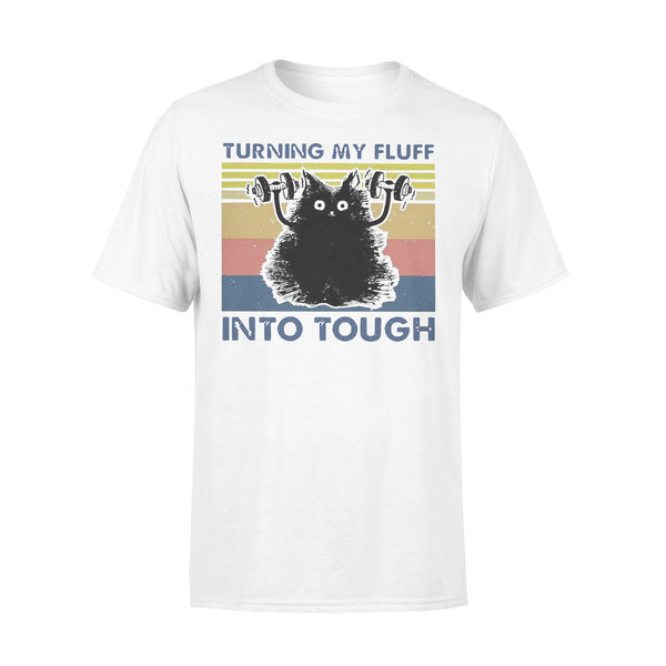 Black Cat Turning My Fluff Into Tough Fitness Vintage T-shirt L By AllezyShirt