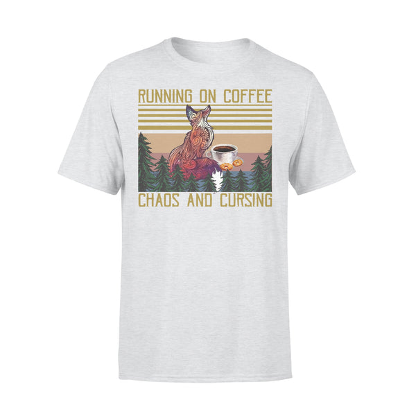 Fox Coffee Lovers Running On Coffee Chaos And Cursing Vintage T-shirt XL By AllezyShirt