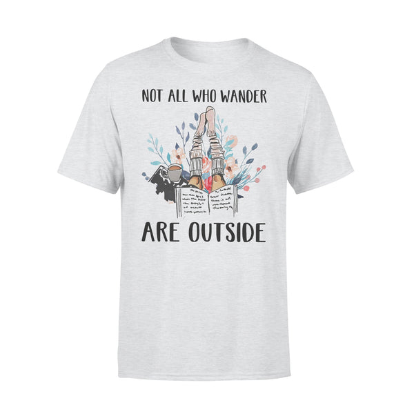 Reading Books Not All Who Wander Are Outside Flowers T-shirt XL By AllezyShirt