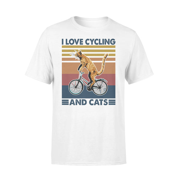 I Love Cycling And Cats Vintage Retro T-shirt L By AllezyShirt