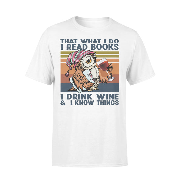 Owl Drink Wine Thats What I Do I Read Books I Drink Wine I Know Things Vintage T-shirt L By AllezyShirt
