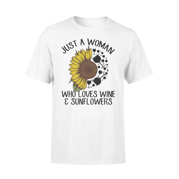 Just A Woman Who Loves Wine And Sunflower Shirt L By AllezyShirt