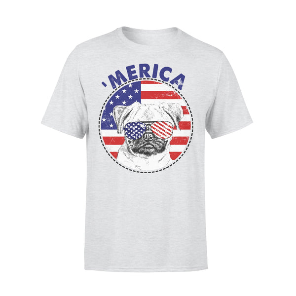 Pug 'Merica Flag Sunglasses Vintage 4th of July USA T-shirt XL By AllezyShirt