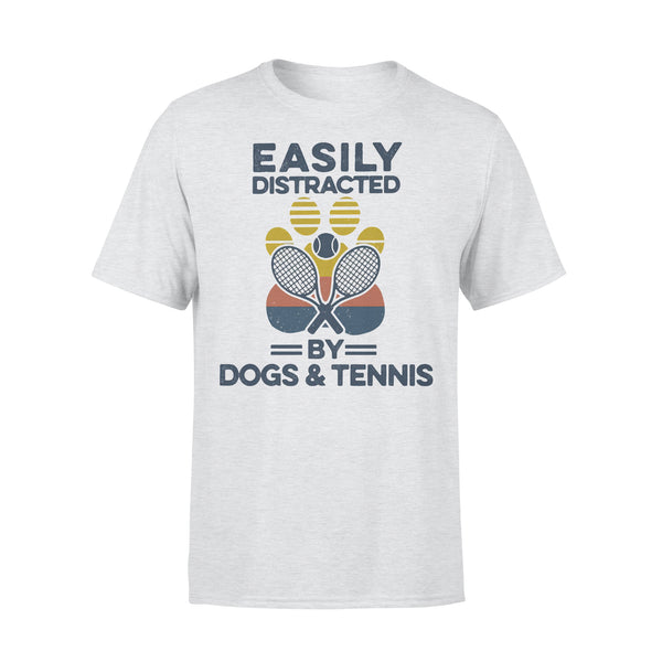 Easily Distracted By Dogs And Tennis Footprint Vintage Retro T-shirt XL By AllezyShirt