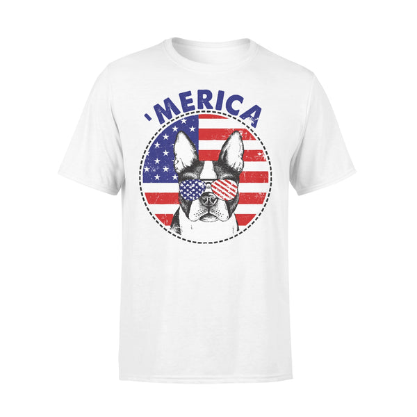 Boston Terrier 'Merica Flag Sunglasses Vintage 4th of July USA T-shirt L By AllezyShirt