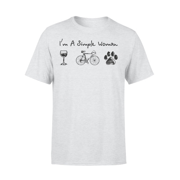 I'm A Simple Woman Wine Bicycle Dog Paw T-shirt XL By AllezyShirt