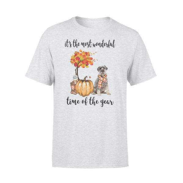 Fall Pumpkin It's The Most Wonderful Time Of The Year Schnauzer T-Shirt XL By AllezyShirt