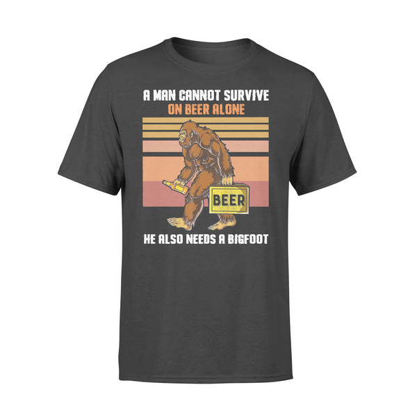 A Man Cannot Survive On Beer Alone He Also Needs A Bigfoot Vintage T-shirt L By AllezyShirt