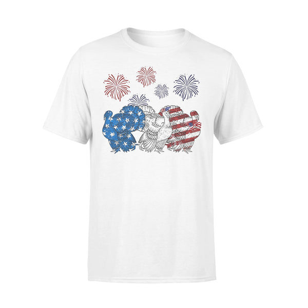 Independence Day Peacocks Wear Bow Tie Firework T-shirt L By AllezyShirt