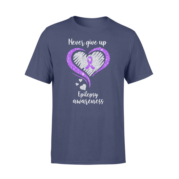 Never Give Up Epilepsy Awareness Hearts Diamond Shirt XL By AllezyShirt
