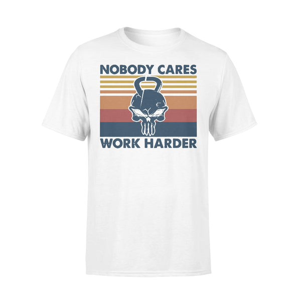 Skull Weightlifting Nobody Cares Work Harder Vintage Retro T-shirt L By AllezyShirt