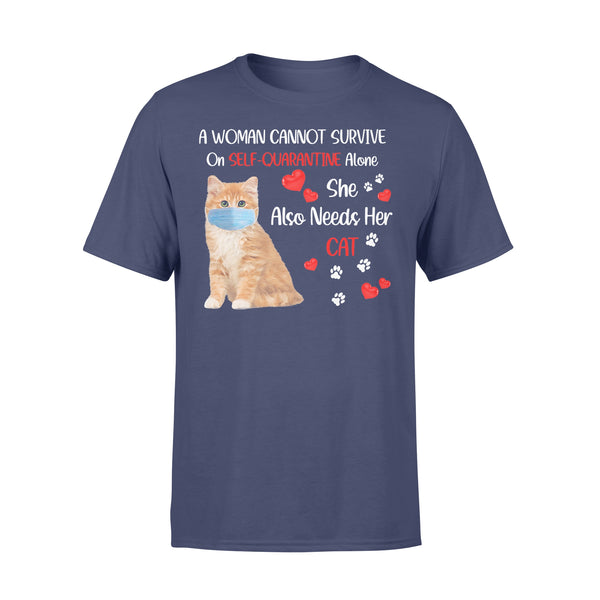 A Woman Cannot Survive On Self-Quarantine Alone She Also Needs Her Cat Heart Covid-19 T-shirt XL By AllezyShirt