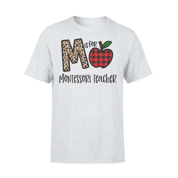 M Is For Montessori Teacher Apple Buffalo Plaid T-shirt XL By AllezyShirt