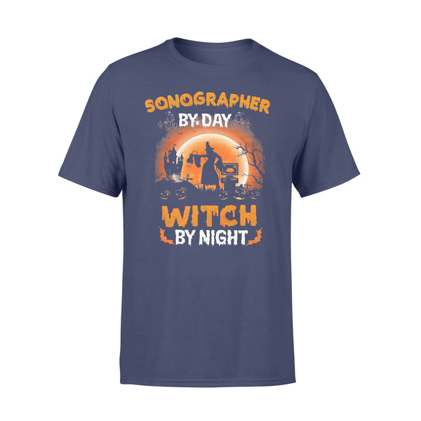 Sonographer By Day Witch By Night Halloween Blood Moon T-shirt XL By AllezyShirt