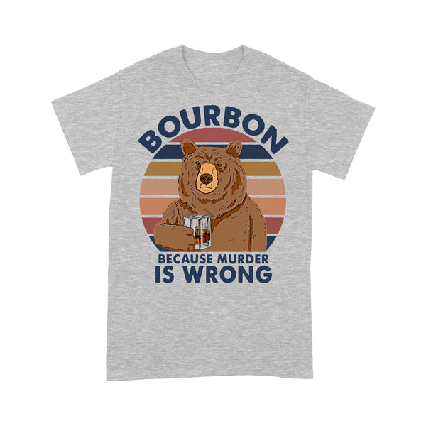 Bear Drink Bourbon Because Murder Is Wrong Vintage Retro T-shirt XL By AllezyShirt