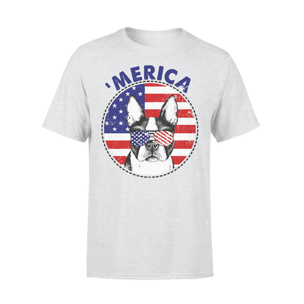 Boston Terrier 'Merica Flag Sunglasses Vintage 4th of July USA T-shirt XL By AllezyShirt
