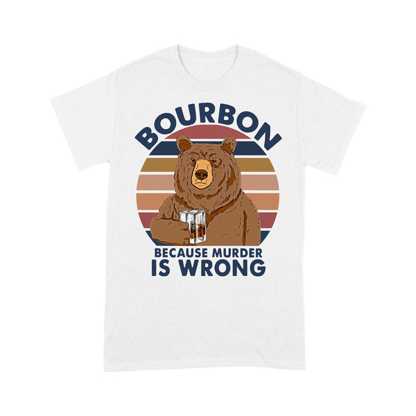 Bear Drink Bourbon Because Murder Is Wrong Vintage Retro T-shirt L By AllezyShirt