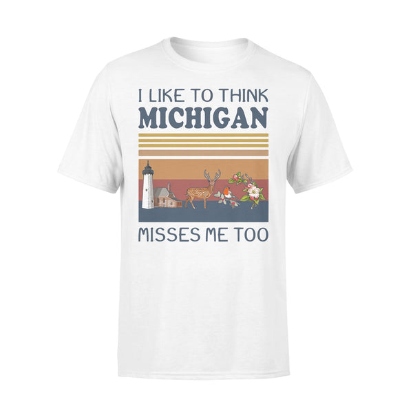 I Like To Think Michigan Misses Me Too Vintage Retro T-shirt S By AllezyShirt