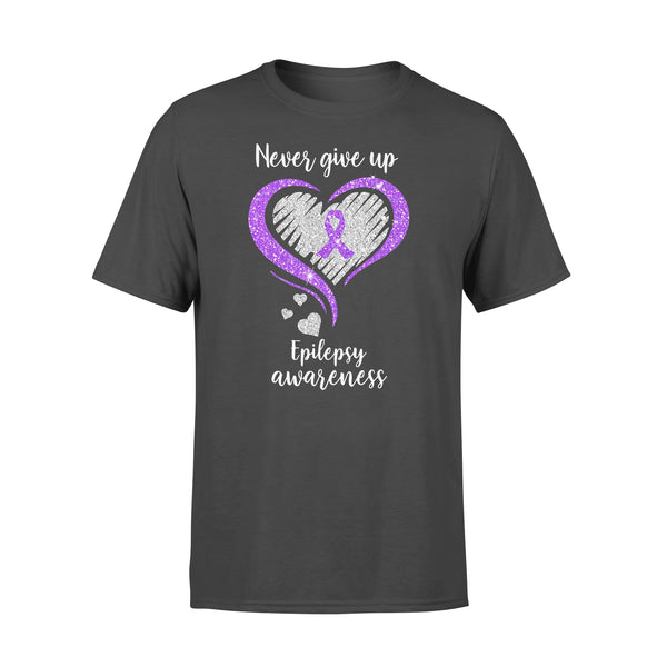 Never Give Up Epilepsy Awareness Hearts Diamond Shirt L By AllezyShirt