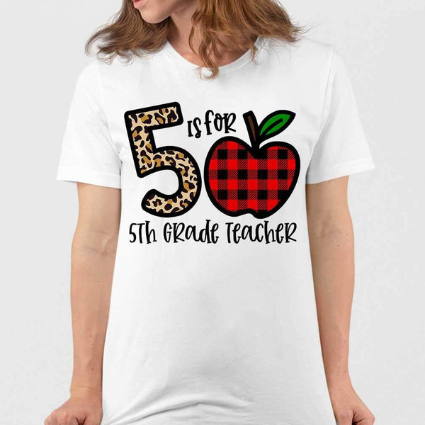 5 Is For 5th Grade Teacher Apple Buffalo Plaid T-shirt M By AllezyShirt