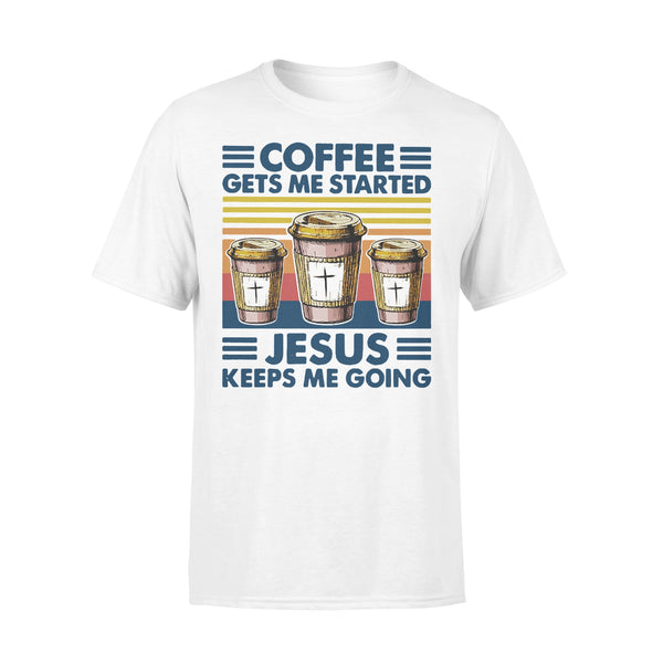 Coffee Gets Me Started Jesus Keeps Me Going Vintage T-shirt L By AllezyShirt