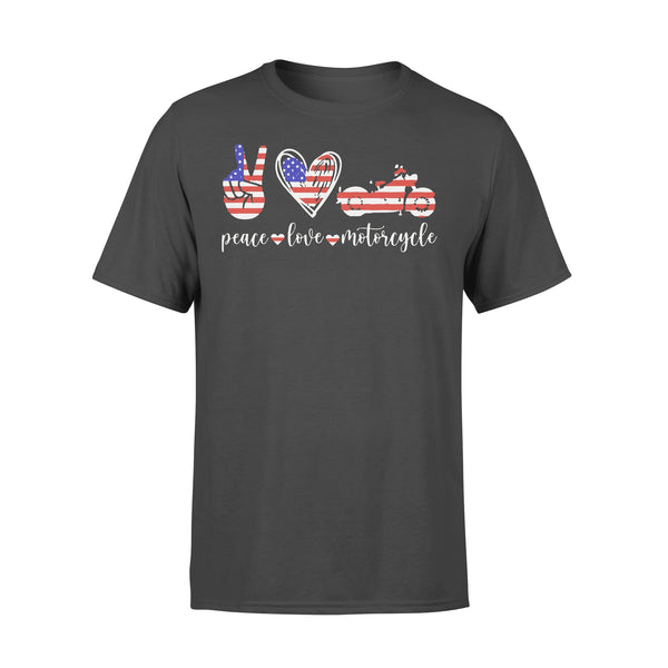 American Flag Peace Love Motorcycle T-shirt L By AllezyShirt