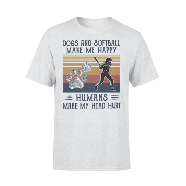Dogs And Softball Make Me Happy Humans Make My Head Hurt Vintage T-shirt XL By AllezyShirt