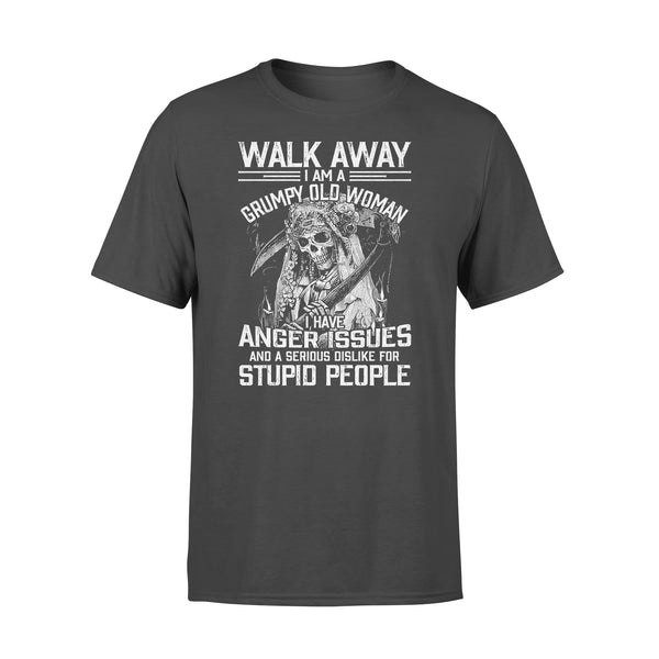 Skull Walk Away I Am A Grumpy Old Woman I Have Anger Issues T-shirt L By AllezyShirt