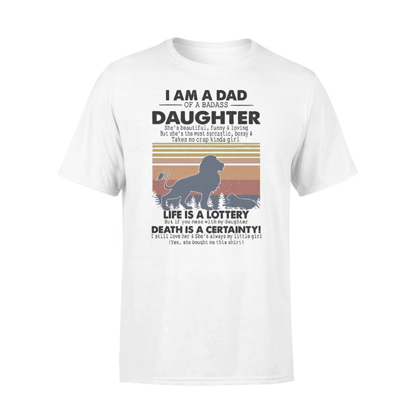 I Am A Dad Daughter Life Is A Lottery Death Is A Certainty Lion Vintage T-shirt L By AllezyShirt