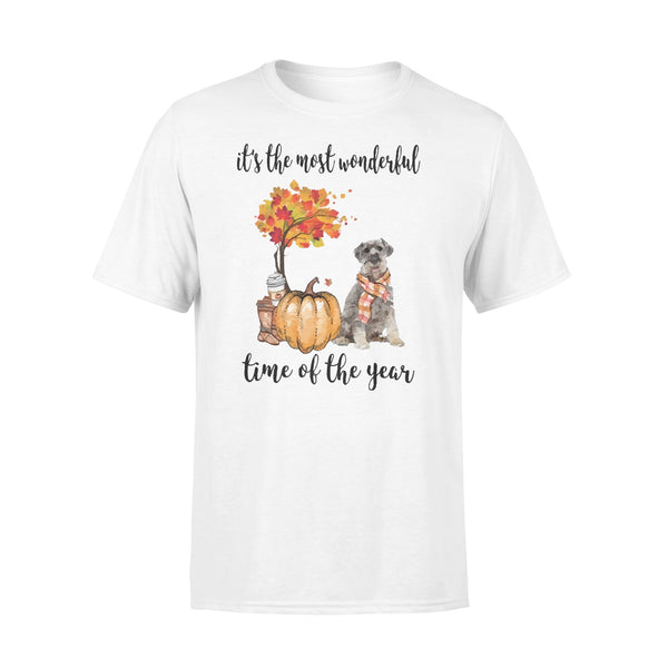 Fall Pumpkin It's The Most Wonderful Time Of The Year Schnauzer T-Shirt L By AllezyShirt