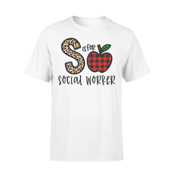 S Is For Social Worker Apple Buffalo Plaid T-shirt L By AllezyShirt