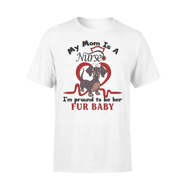 Dachshund My Mom Is A Nurse I'm Proud To Be Her Fur Baby Heartbeat Shirt L By AllezyShirt