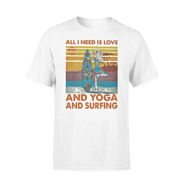 All I Need Is Love And Yoga And Surfing Vintage Retro T-shirt L By AllezyShirt