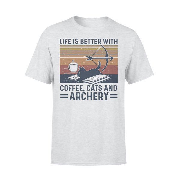 Life Is Better With Coffee Cats And Archery Vintage Retro T-shirt XL By AllezyShirt