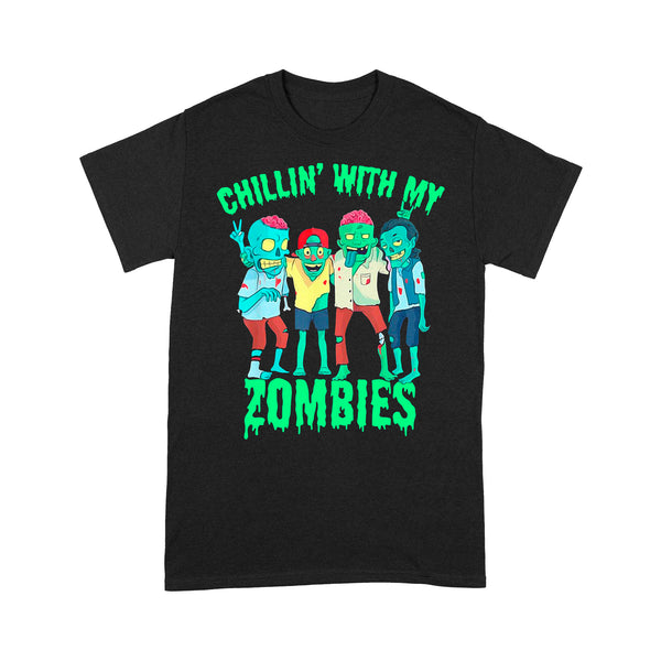 Chillin With My Zombies Halloween Friends T-shirt L By AllezyShirt